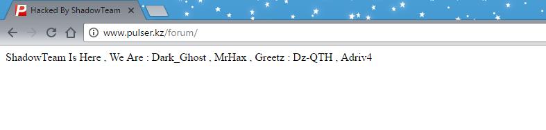 Группой ShadowTeam совершен массовый взлом сайтов в зоне gov.kz